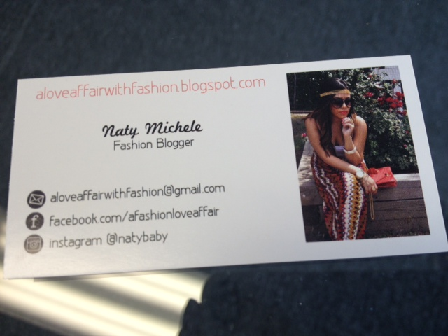 Fashion blogger business cards naty michele i wanted the most important information here along with my photo colourmoves