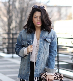 Boyfriend Denim & Lace-Up Knits