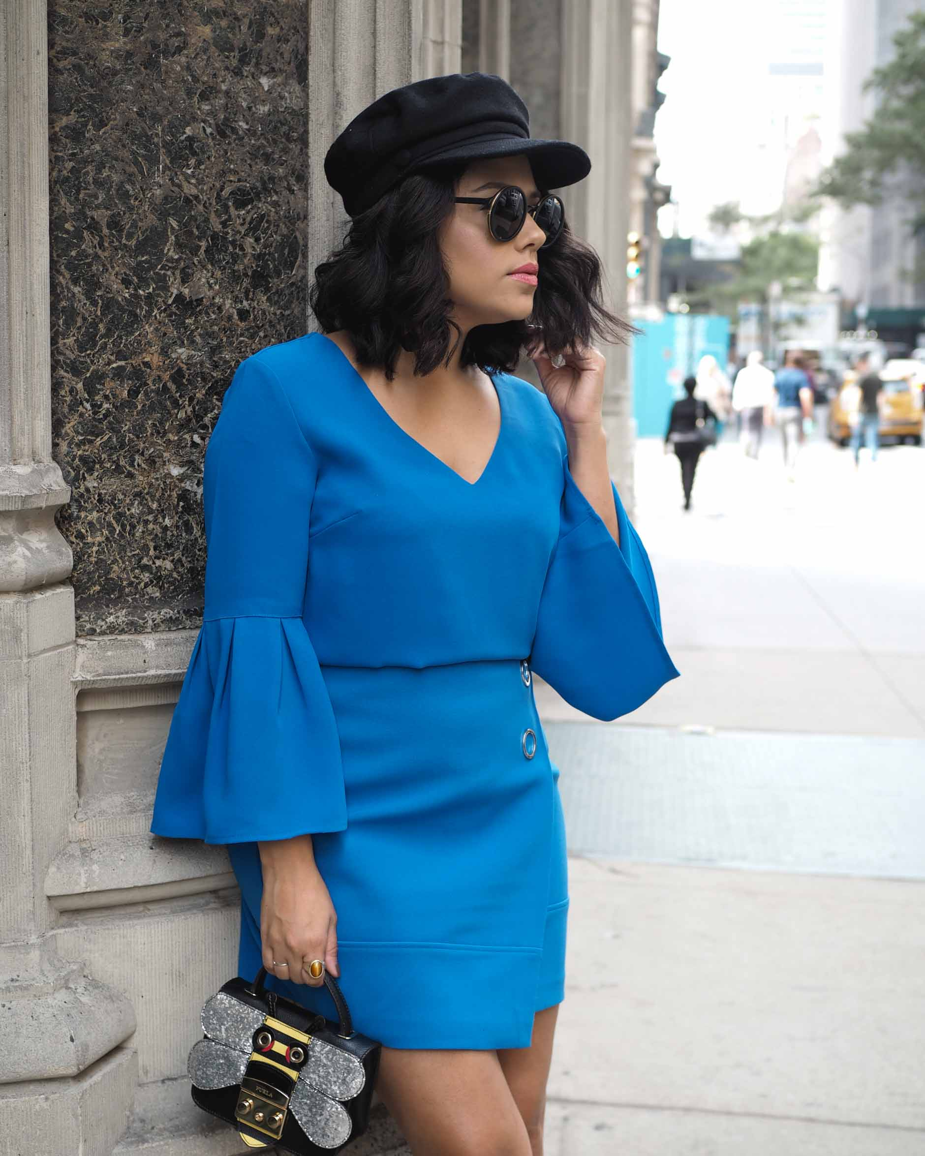 naty michele wearing black and blue for nyfw