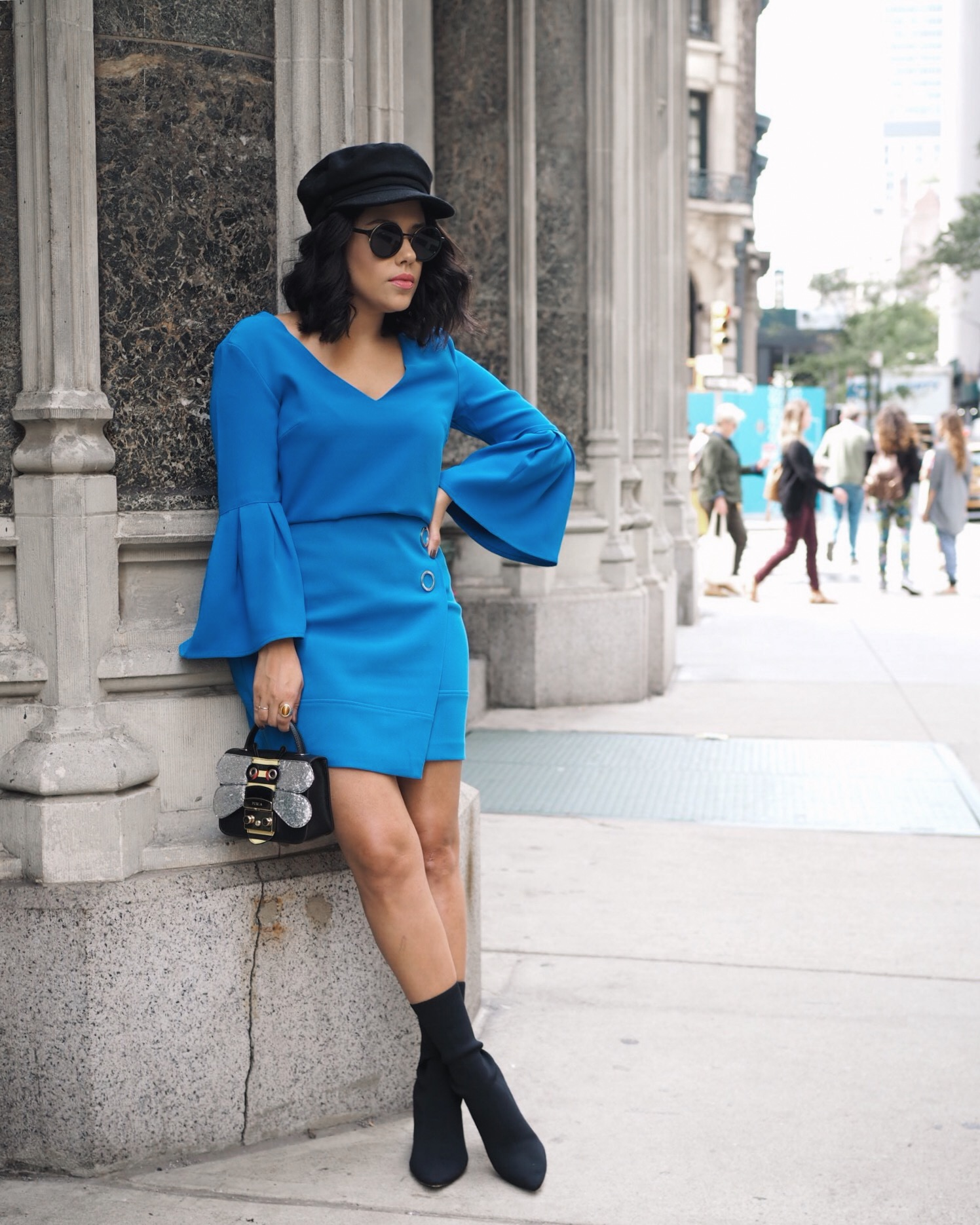 naty michele wearing blue and black outfit at nyfw