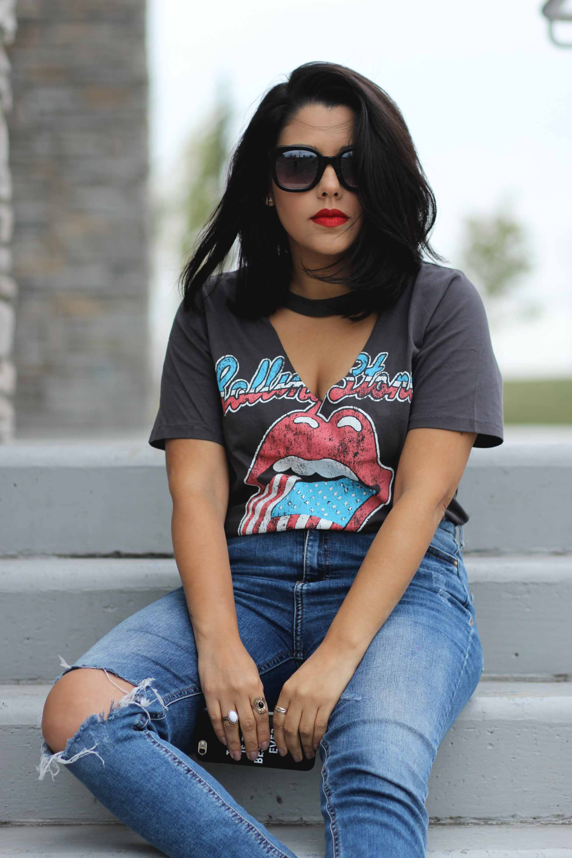 naty michele wearing a rolling stones shirt