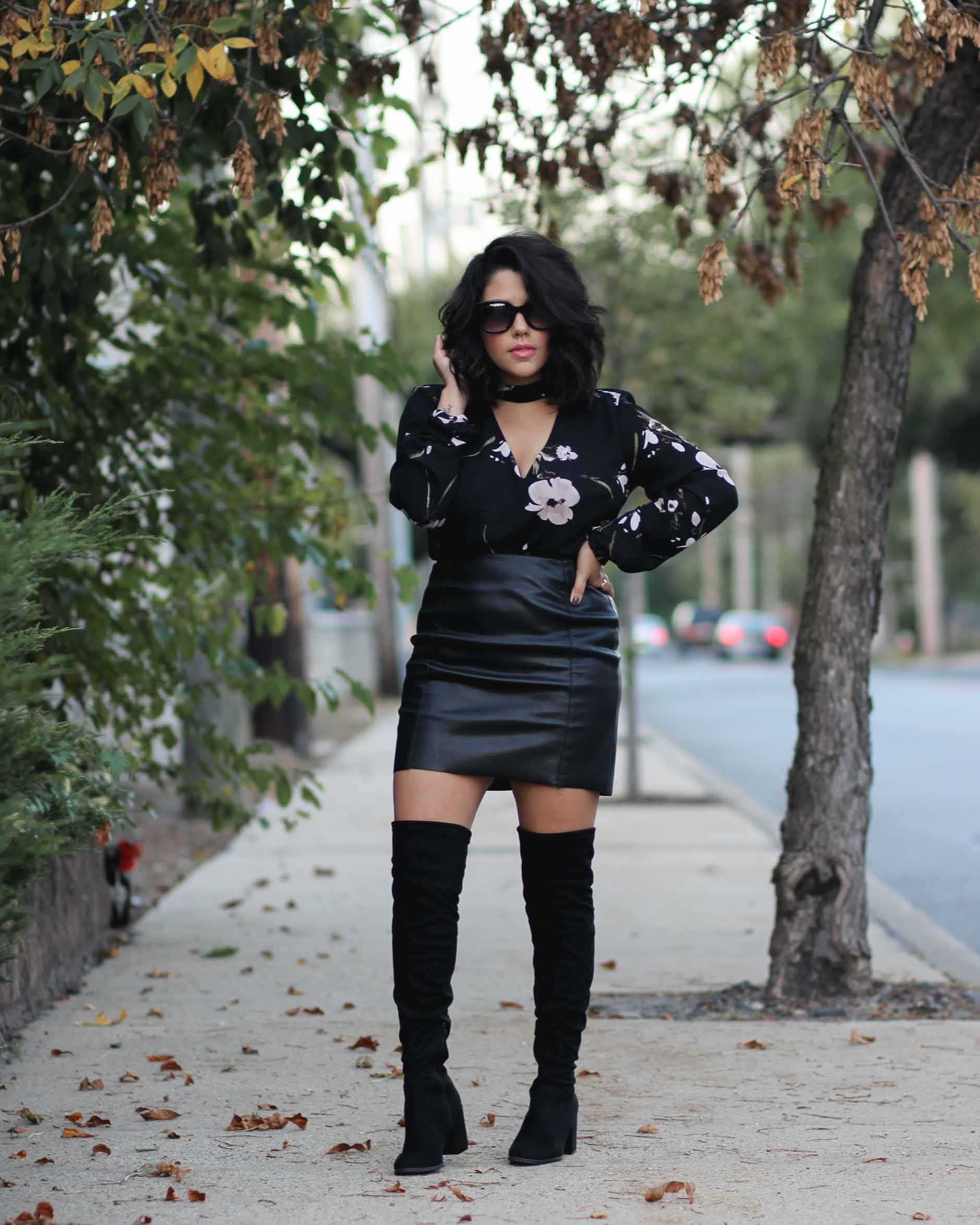lifestyle blogger naty michele wearing otk boots and faux leather skirt