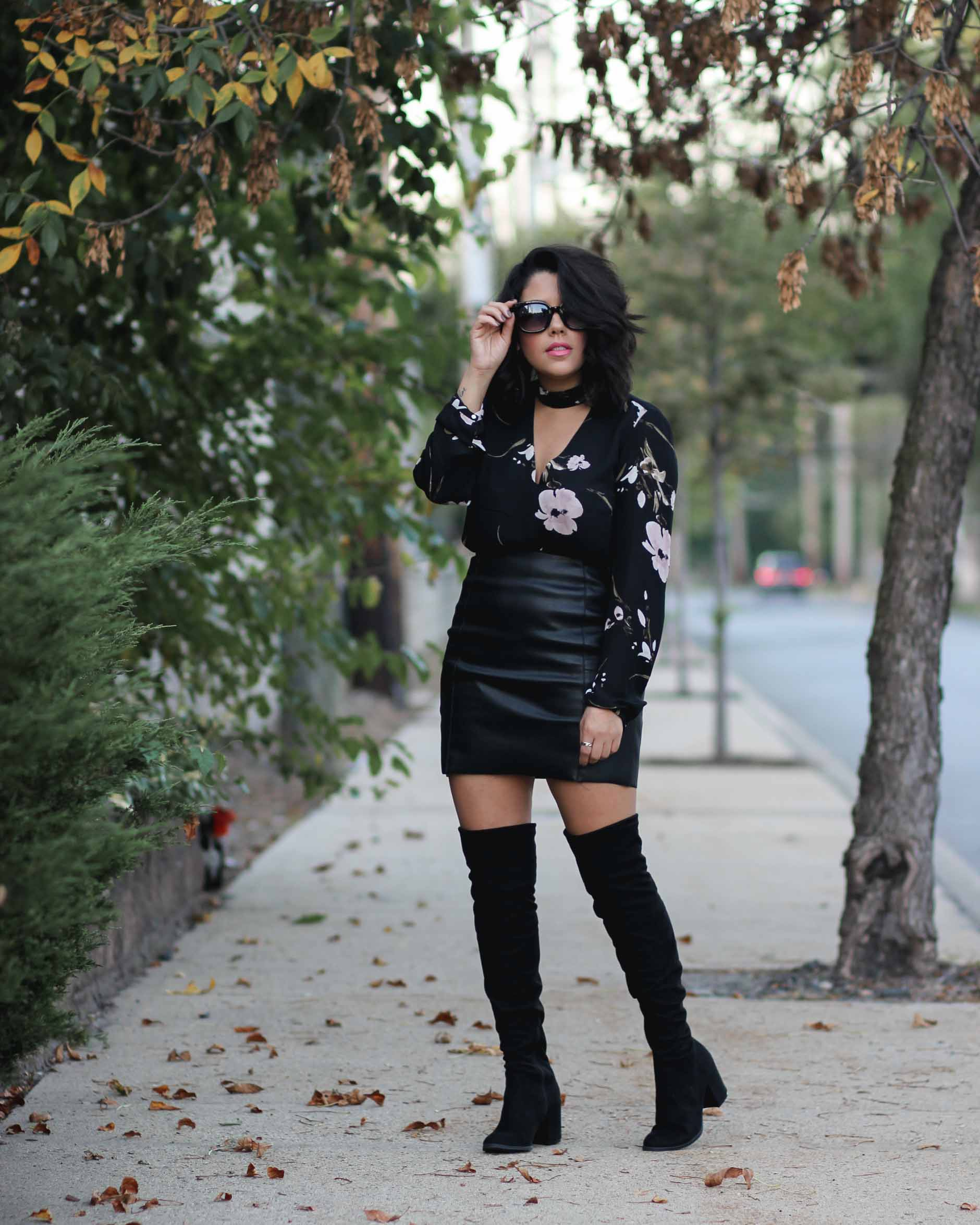 lifestyle blogger naty michele wearing otk boots and fall florals