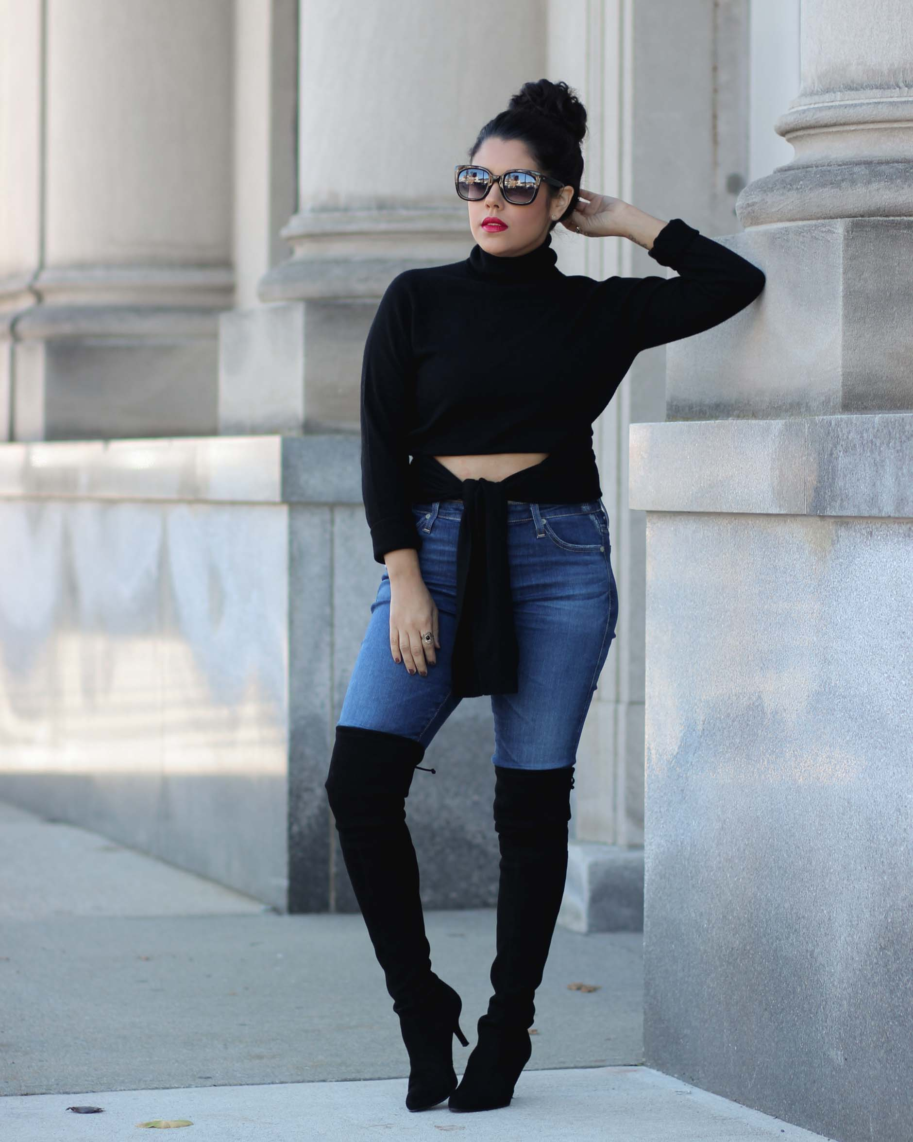 lifestyle blogger naty michele wearing stuart weitzman otk boots and a kendall and kylie sweater