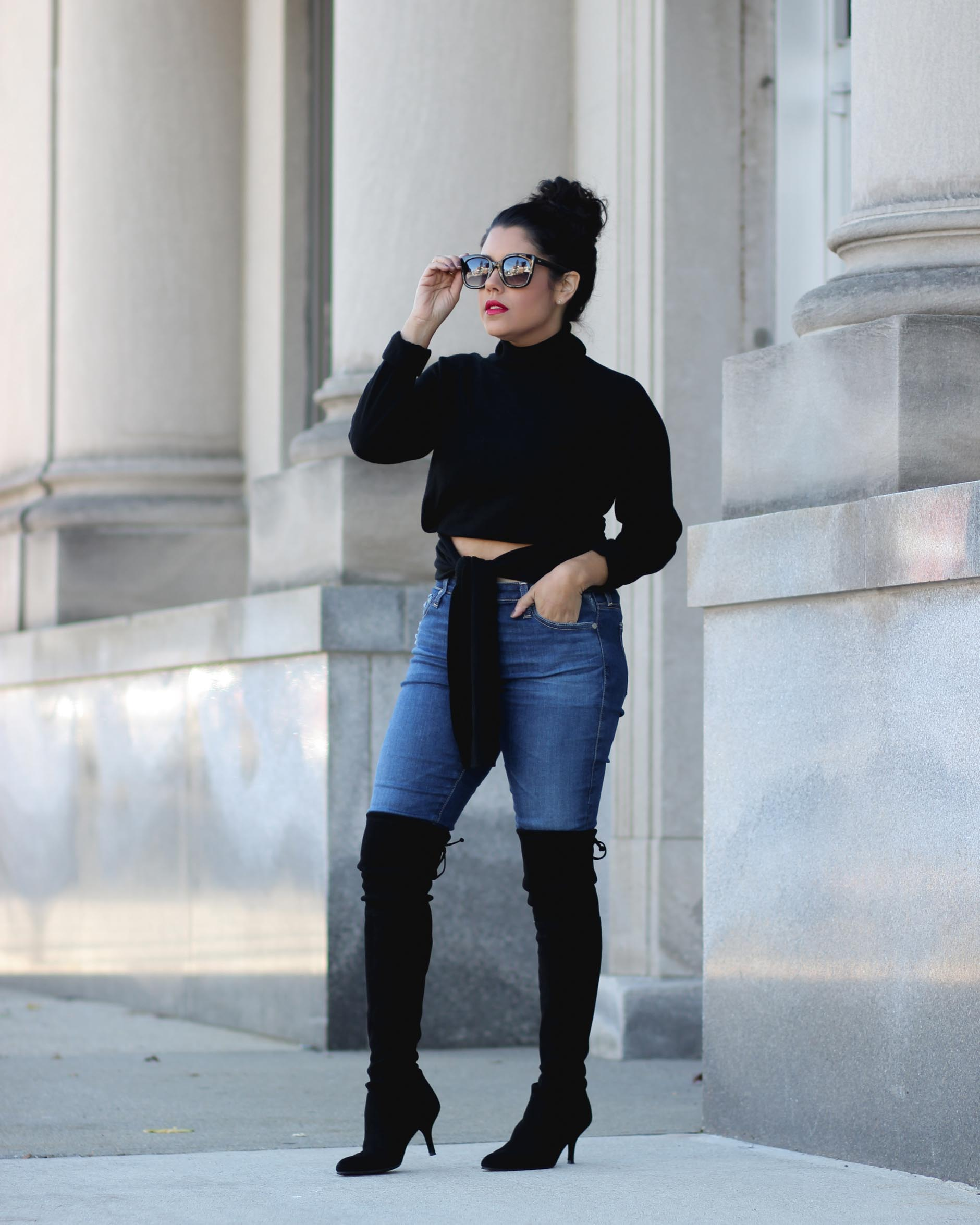 lifestyle blogger naty michele wearing a kendall and kylie sweater and stuart weitzman otk boots