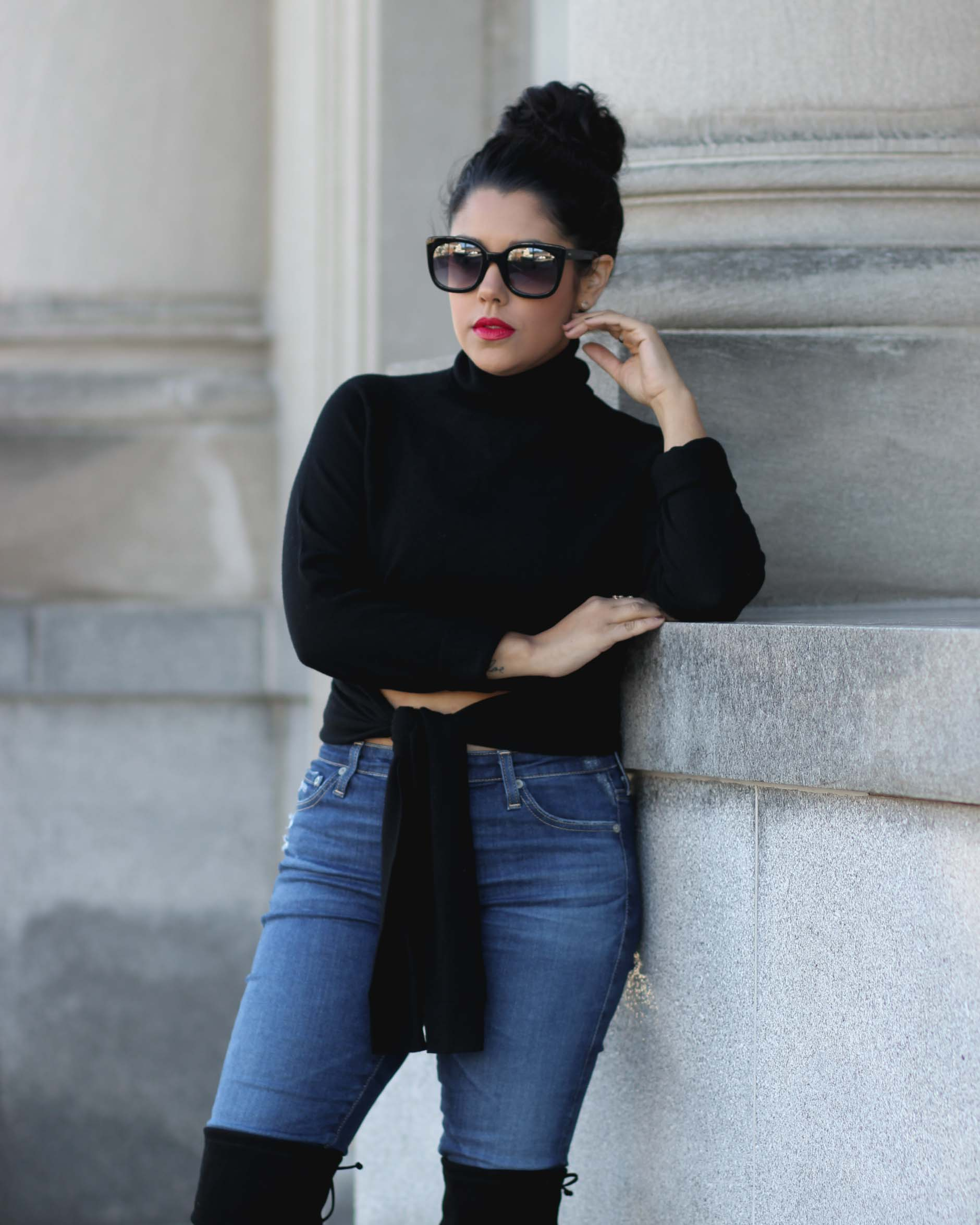lifestyle blogger naty michele wearing kendall and kylie sweater with ag jeans