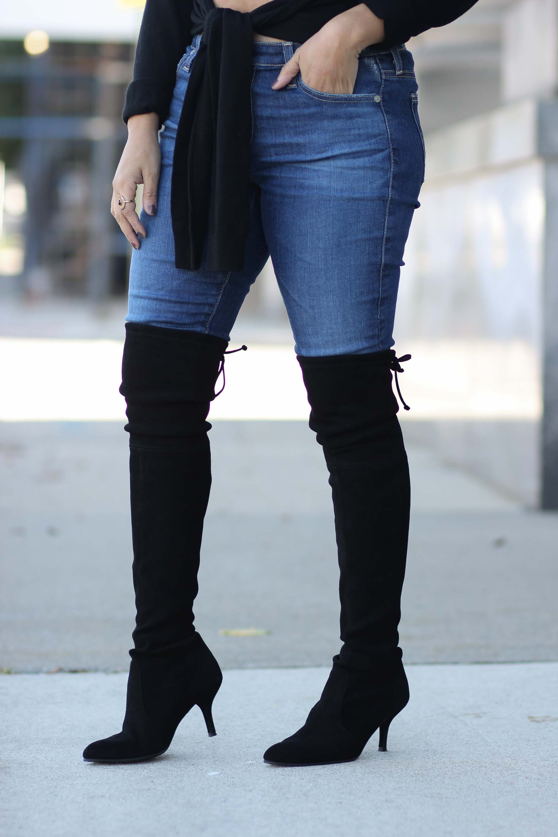 lifestyle blogger naty michele wearing ag jeans and stuart weitzman otk boots