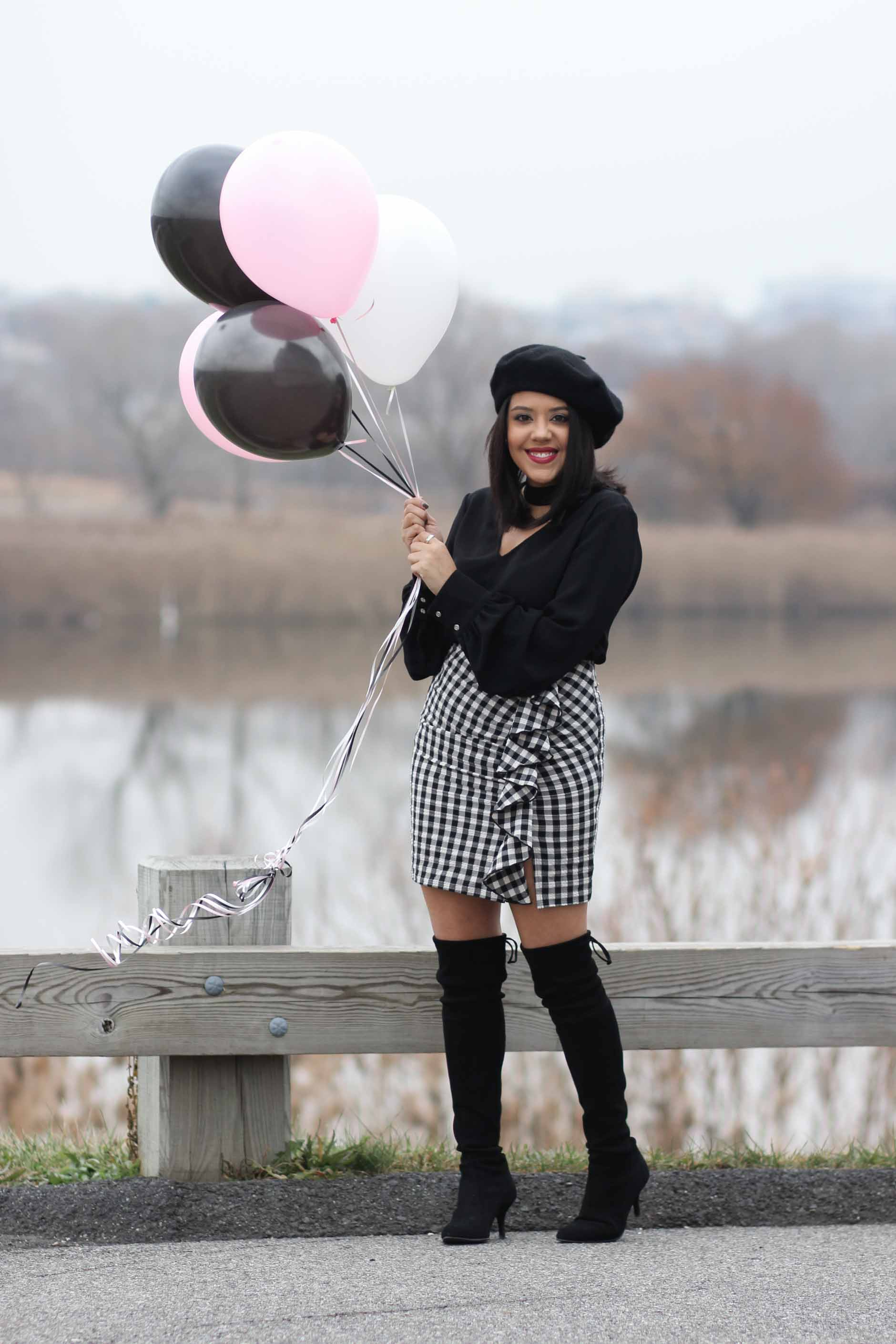 naty michele wearing beret, otk boots and gingham skirt