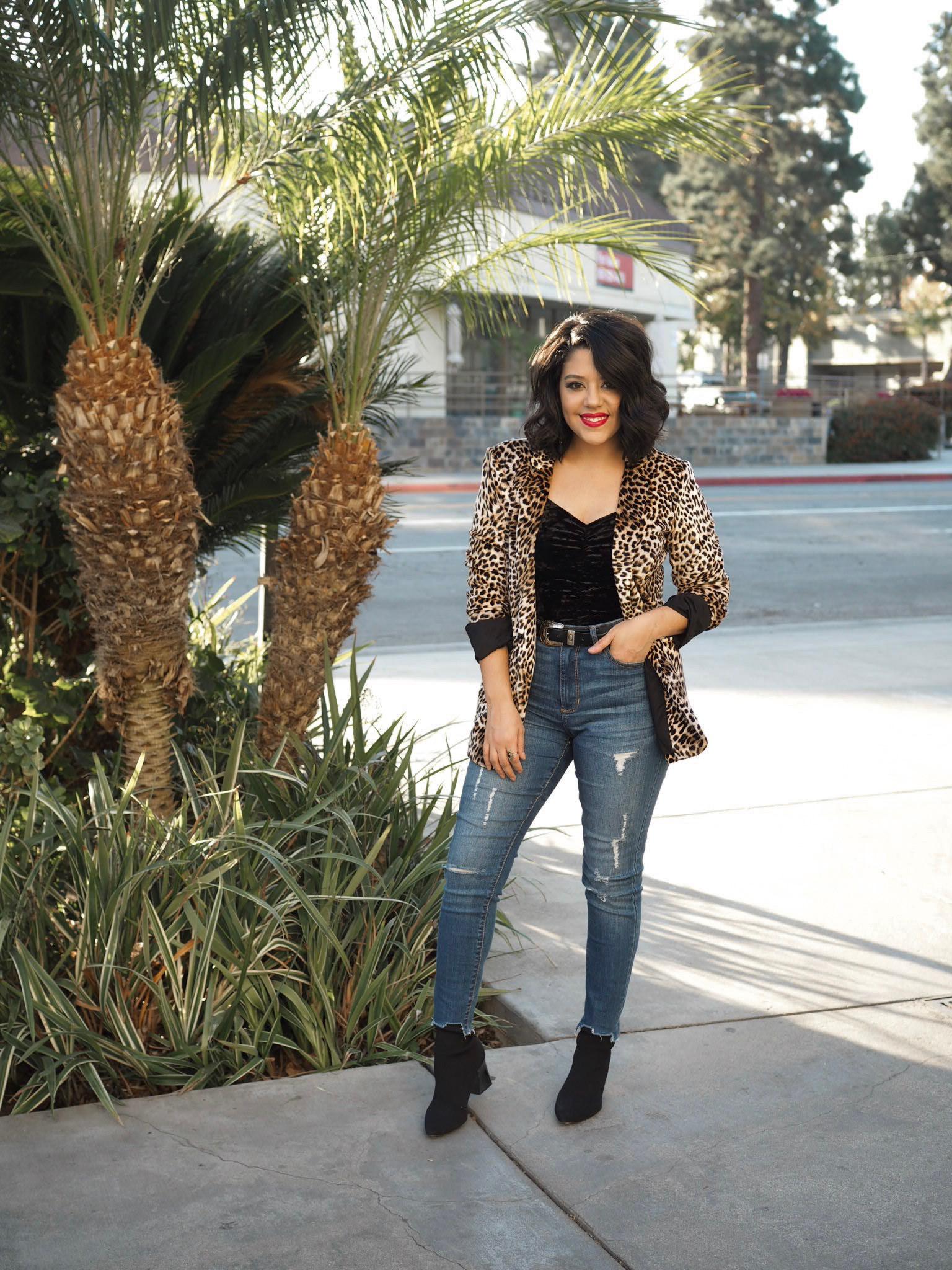 naty michele wearing a velet leopard blazer in LA