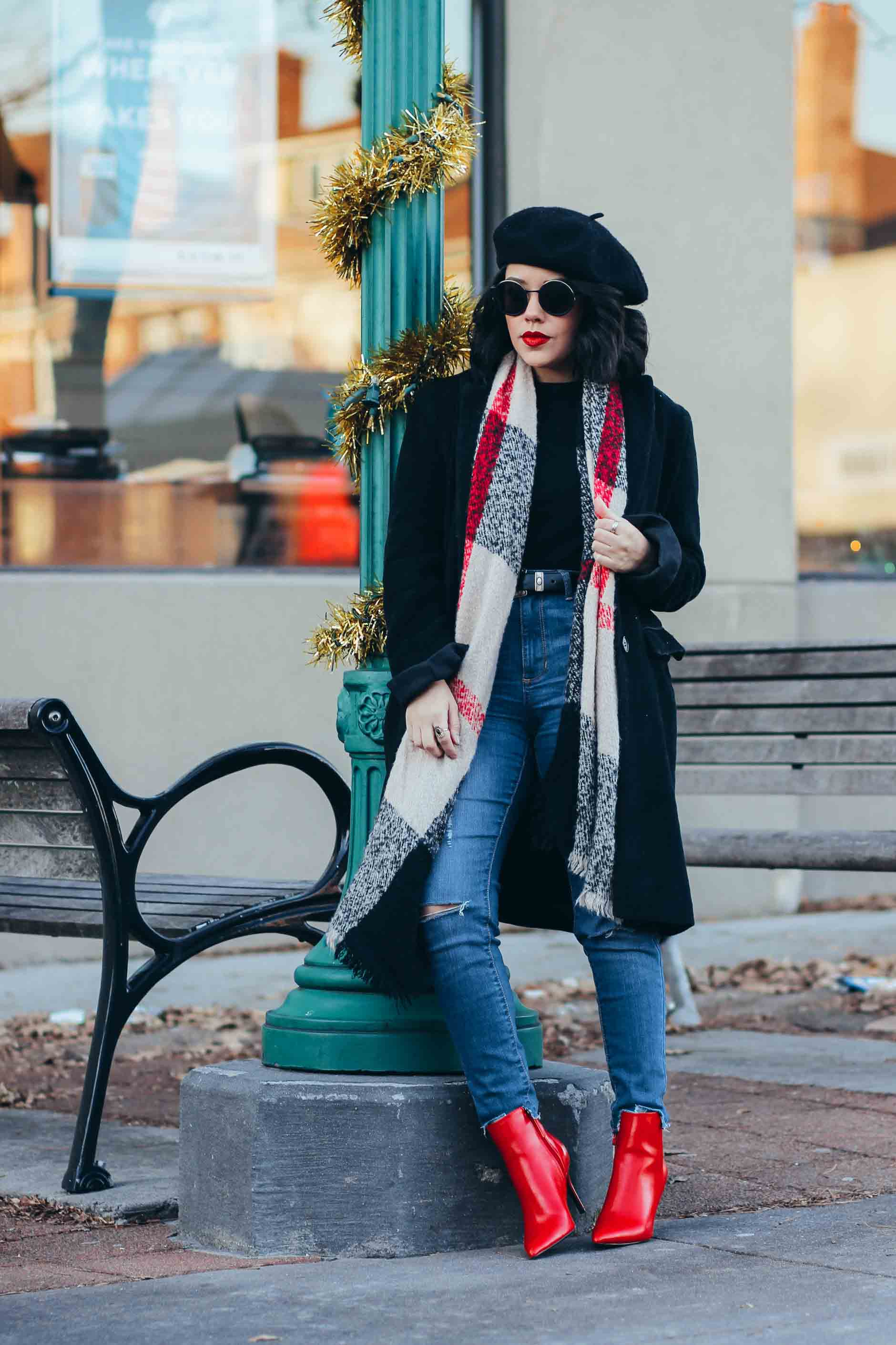 lifestyle blogger naty michele wearing red booties and a plaid scarf