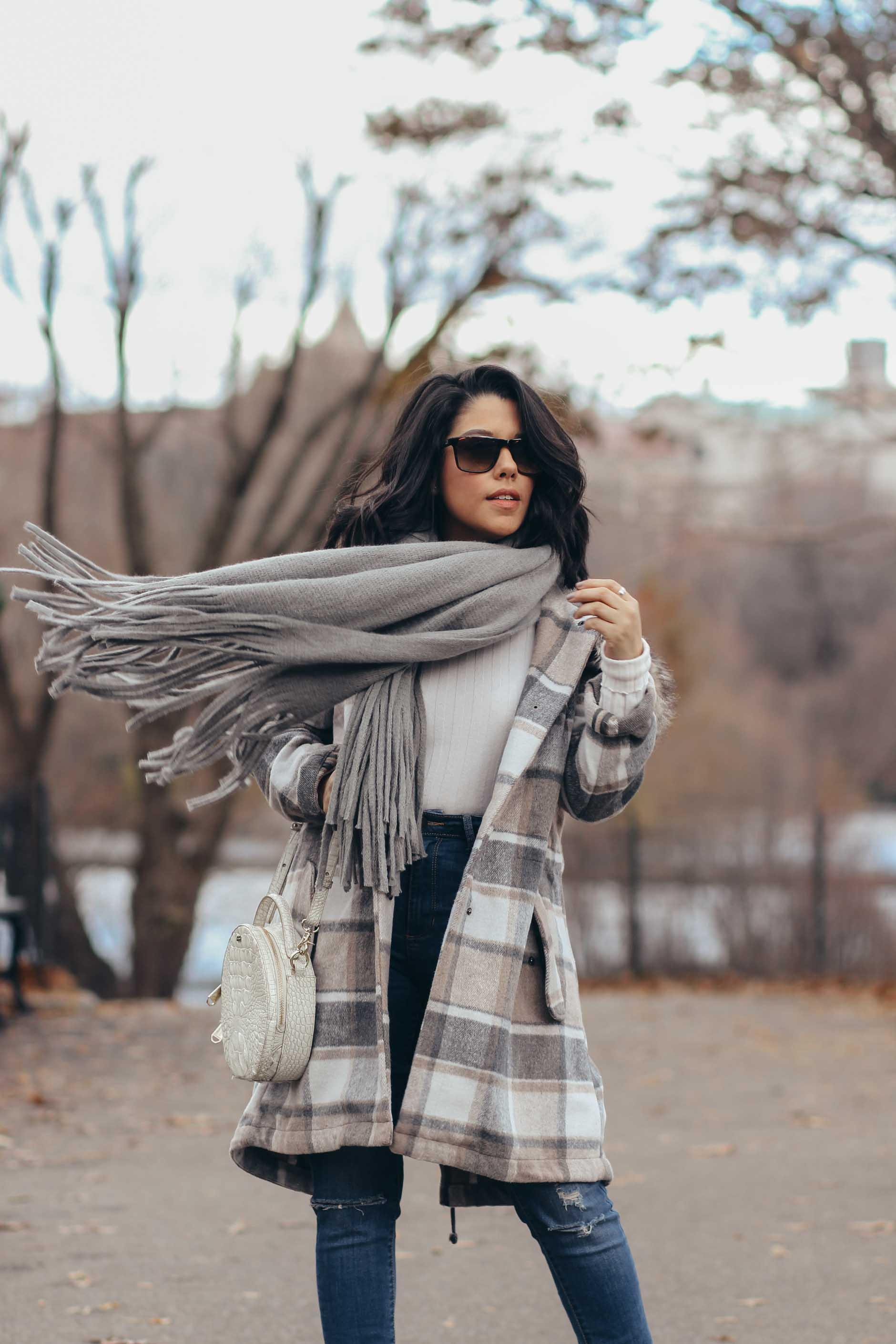 lifestyle blogger naty michele wearing stitch fix plaid coat and grey fringe scarf