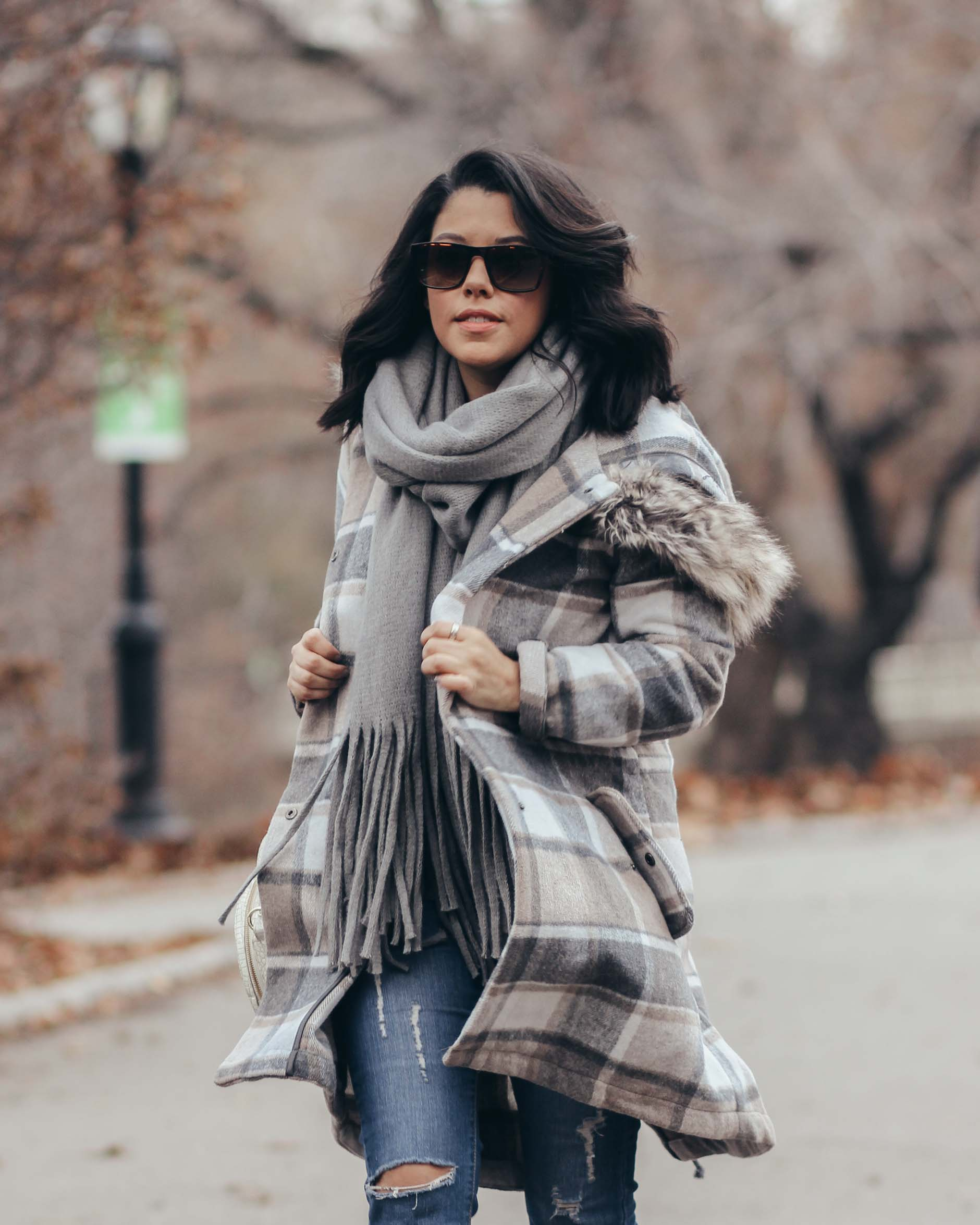 lifestyle blogger naty michele wearing a stitch fix plaid coat
