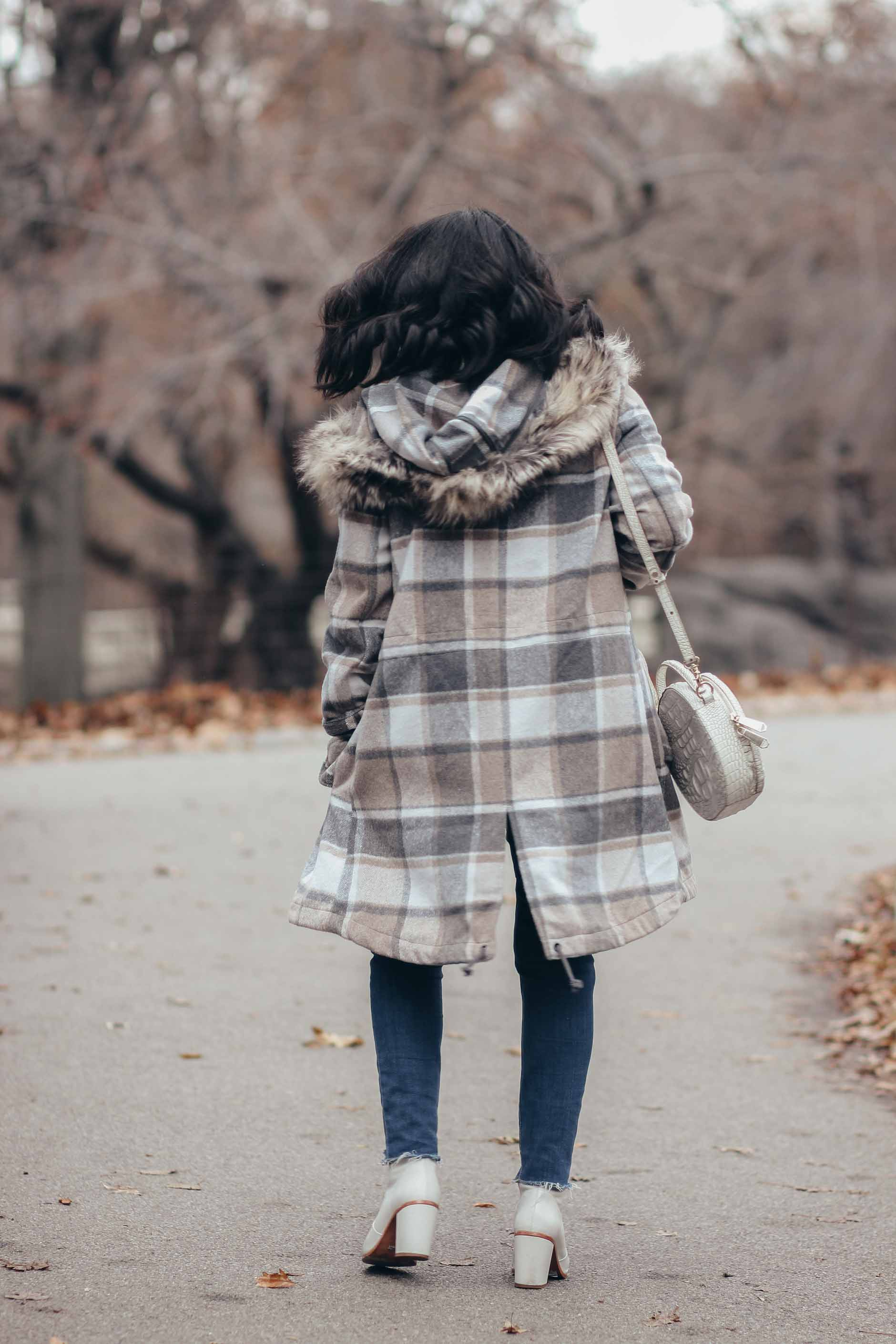 back of lifestyle blogger naty michele plaid stitch fix coat