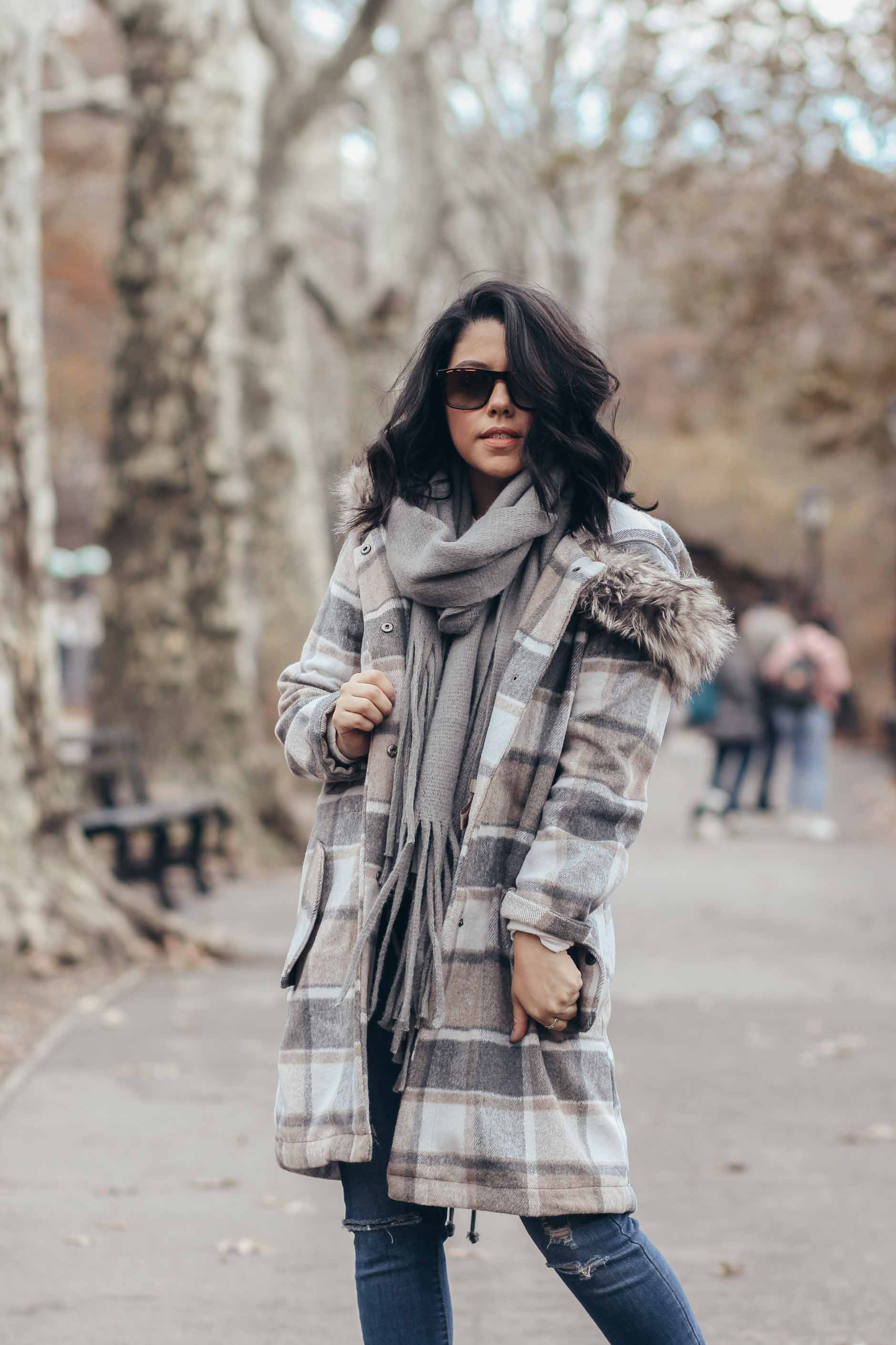 lifestyle blogger naty michele wearing plaid stitch fix coat