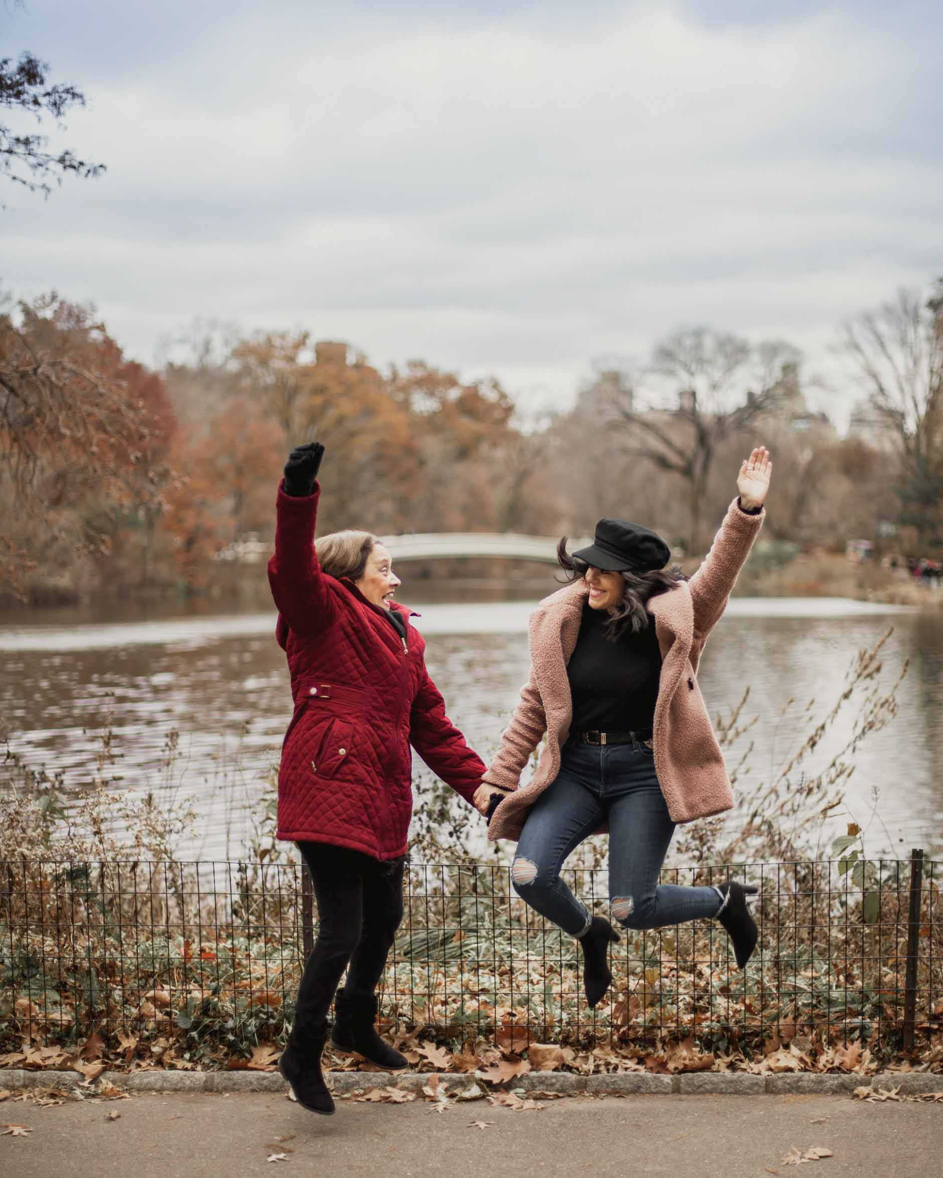 naty michele jumping up with her mom at central park