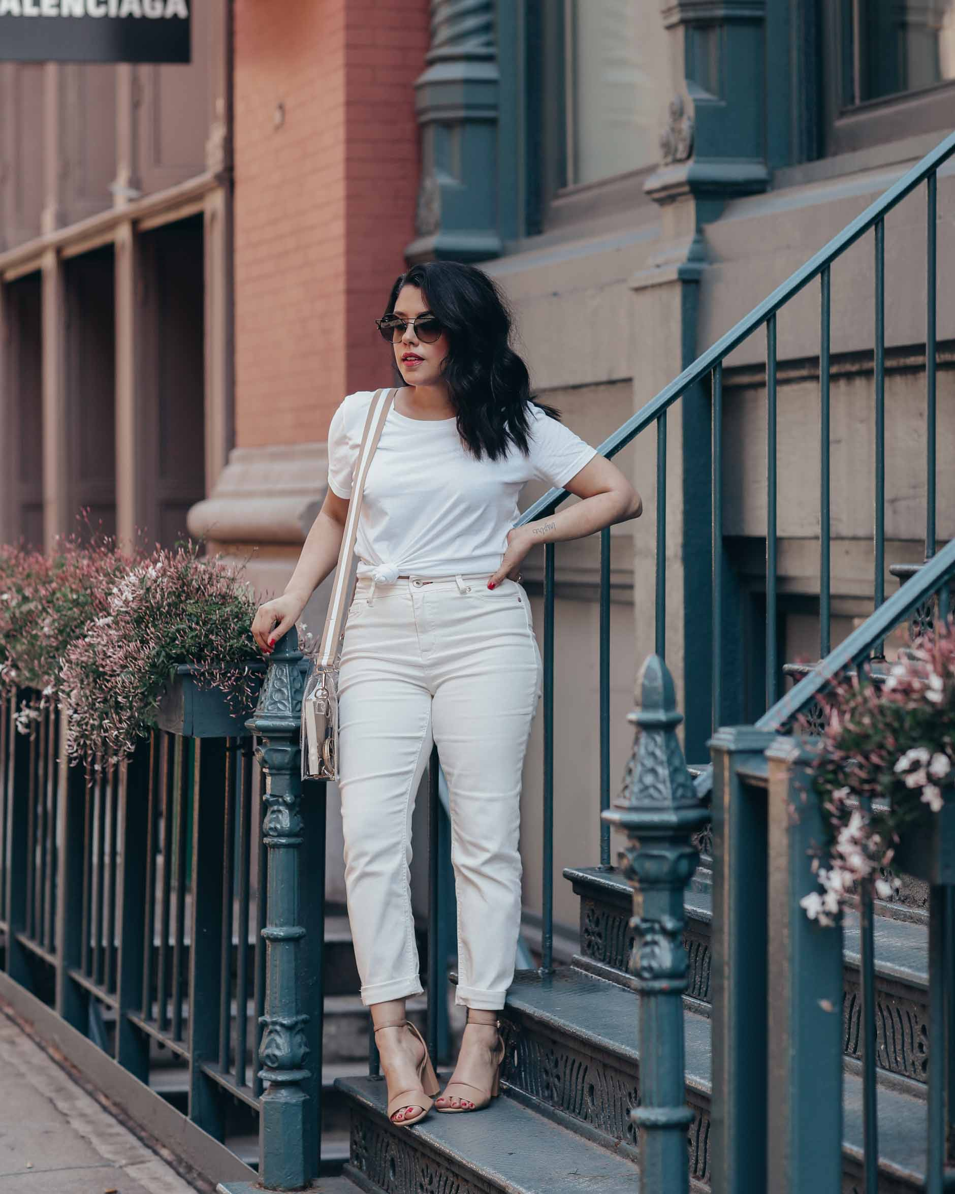 naty michele wearing a white outfit in soho ny for we dress america
