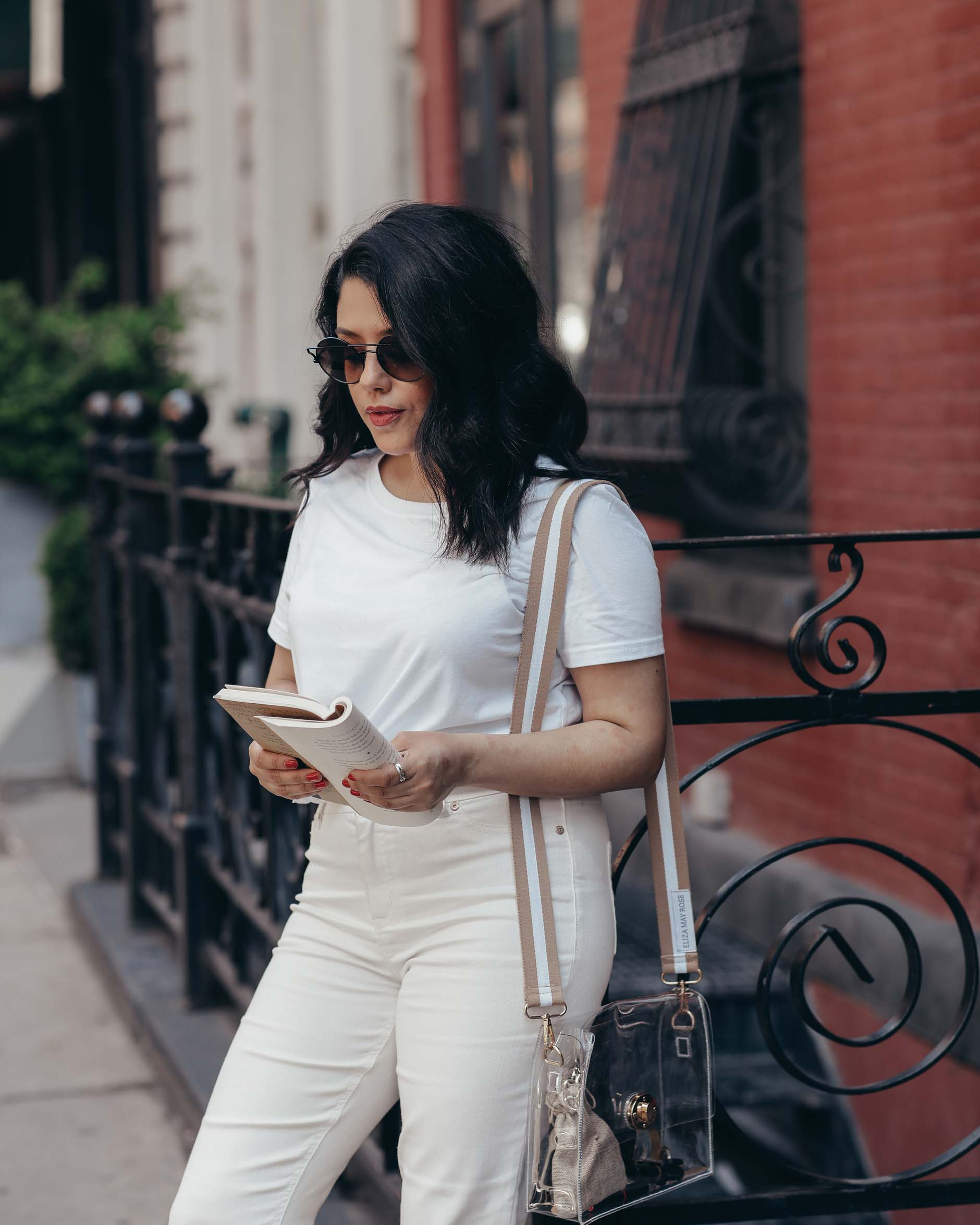 naty michele in soho ny wearing all white for we dress america