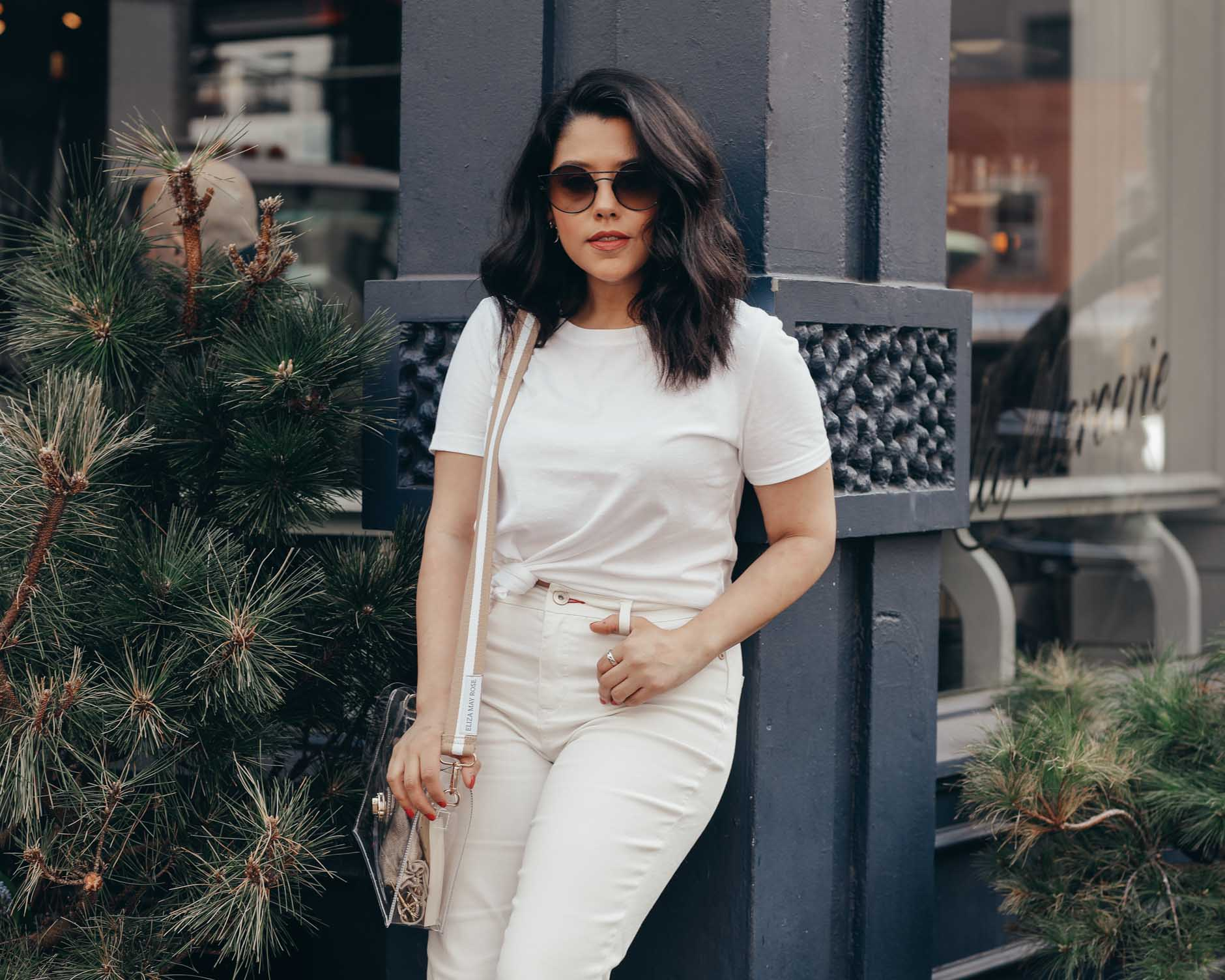 naty michele wearing all white in soho ny for we dress america