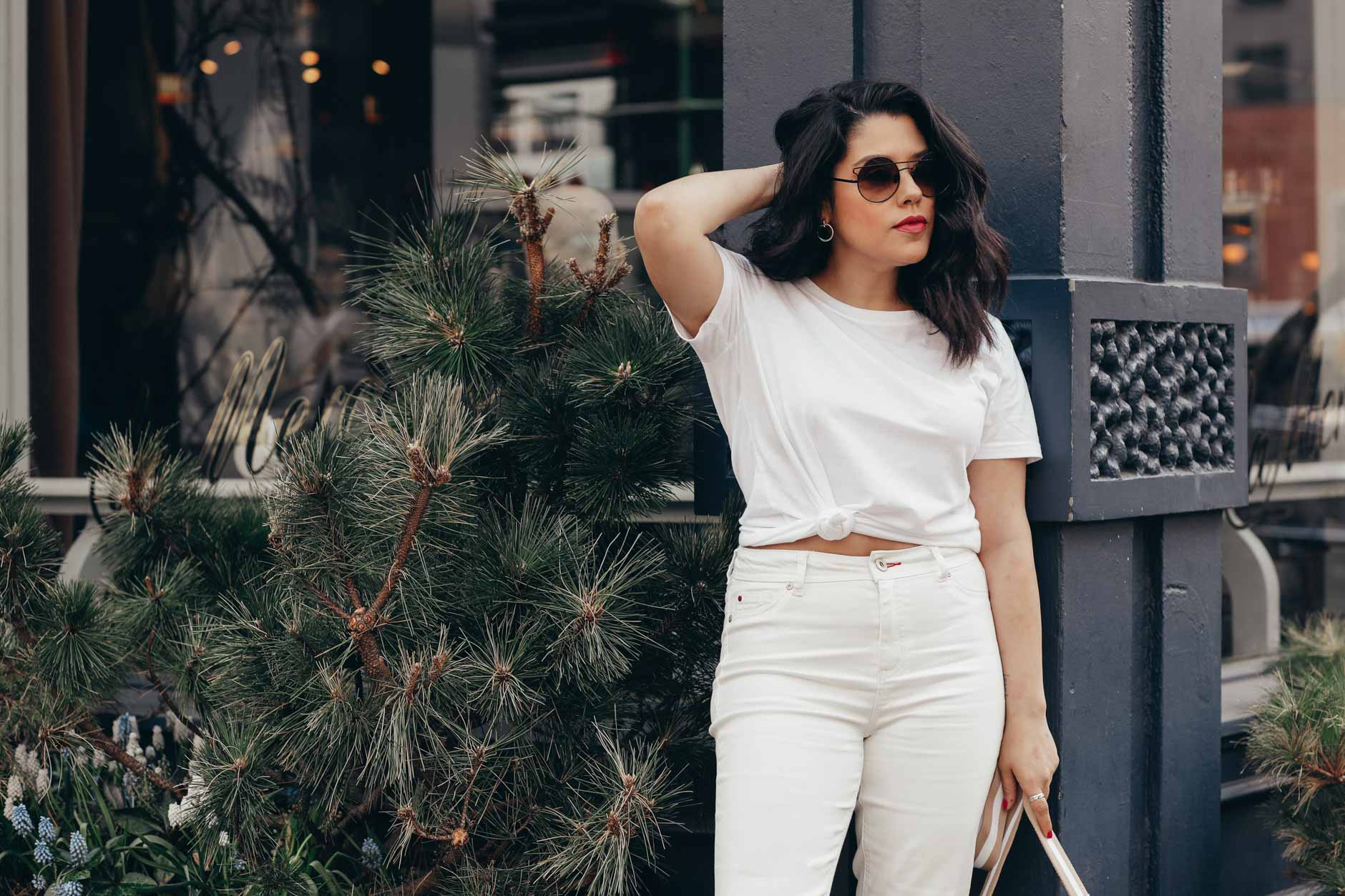 naty michele in a white knotted tee for we dress america
