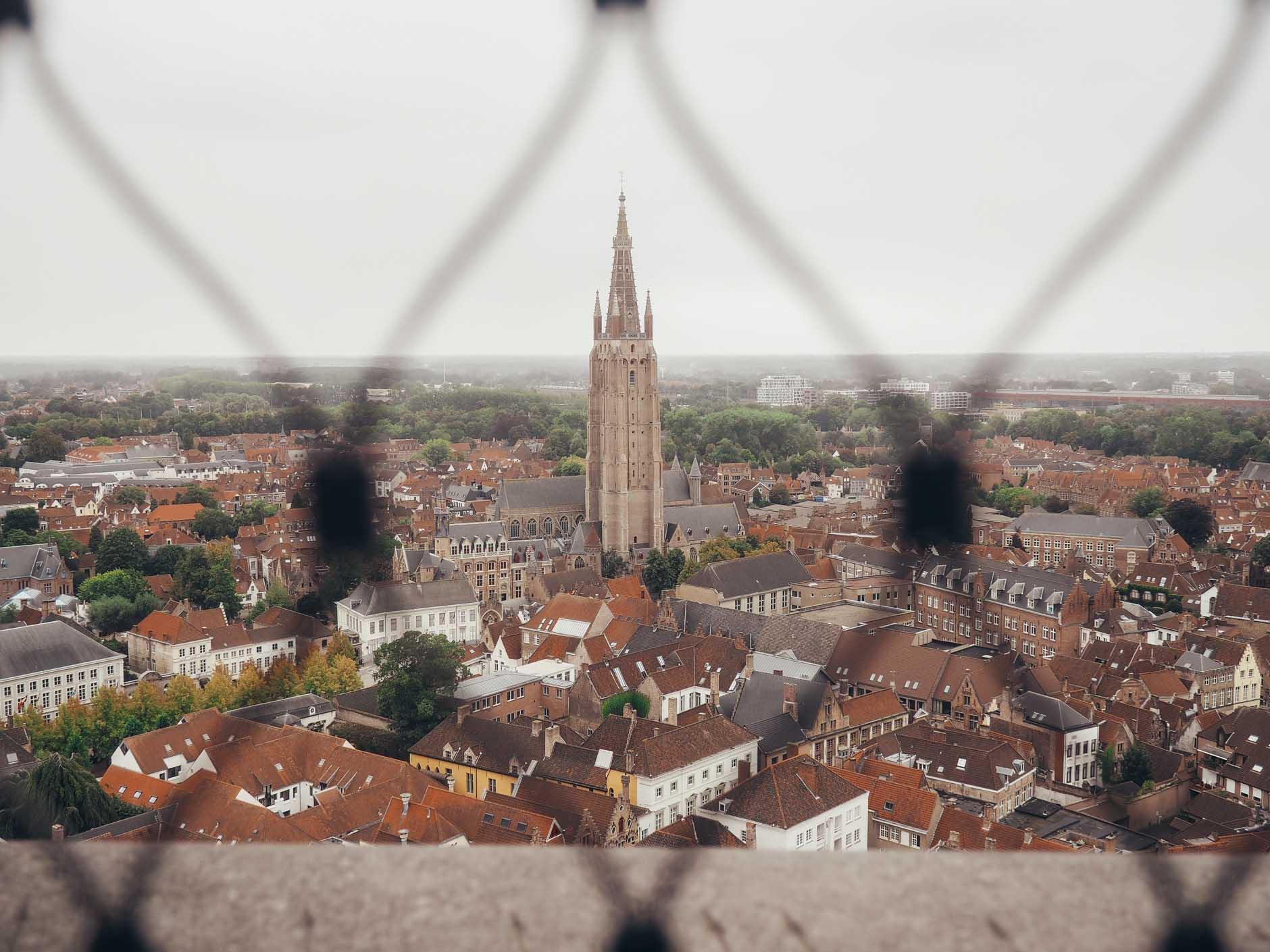belfry tower view bruges belgium