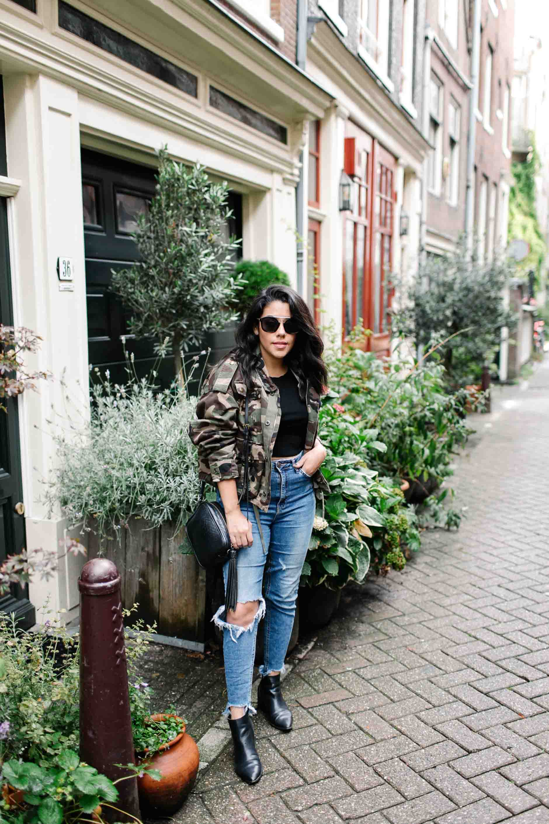 naty michele wearing camo in amsterdam