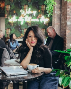 naty michele at a nyc coffee shop