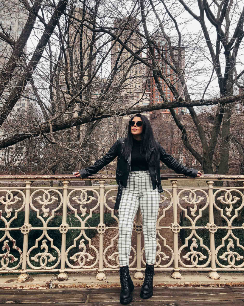 naty michele at central park wearing combat boots and leather jacket