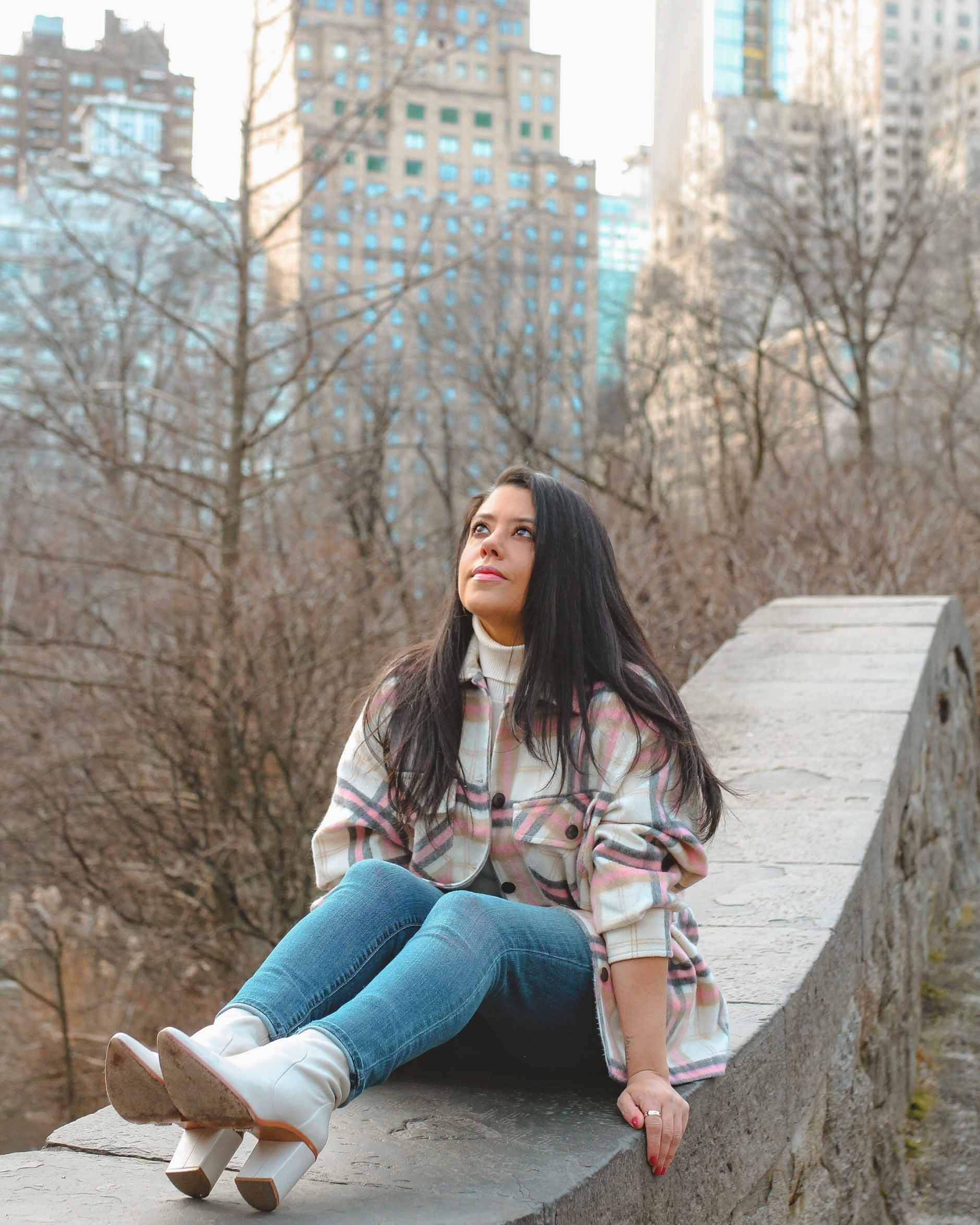 naty michele sitting at central park