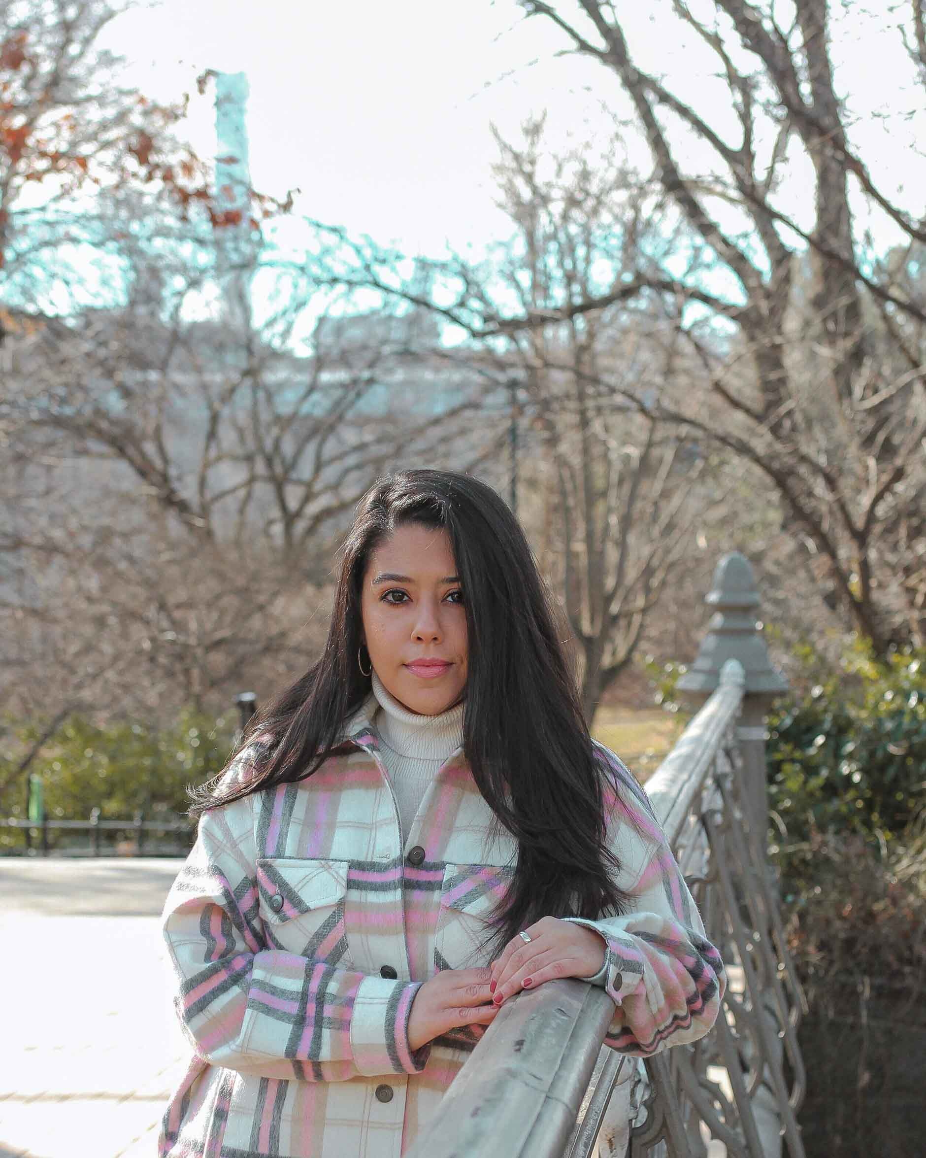 naty michele wearing shacket at central park