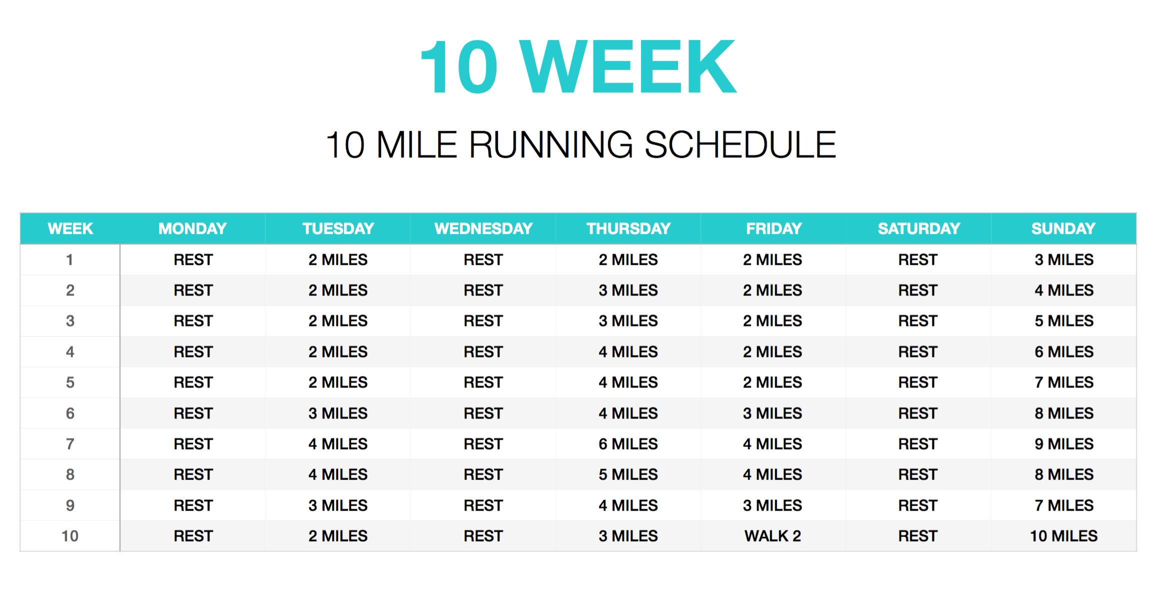 10 week running schedule